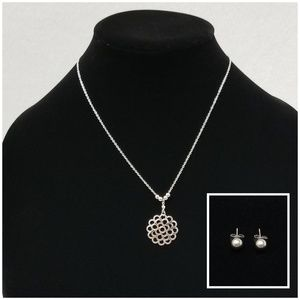 Necklace Pendant Earring Set Stainles Steel